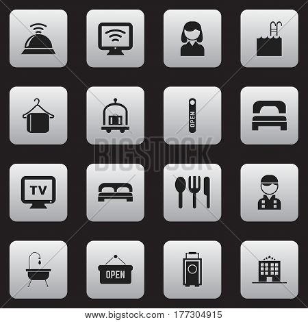Set Of 16 Editable Hotel Icons. Includes Symbols Such As Hostel, Monitor, Baggage And More. Can Be Used For Web, Mobile, UI And Infographic Design.