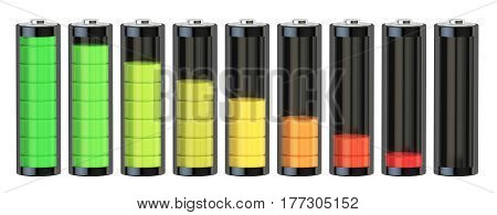 Battery charge level indicators 3D rendering isolated on white background