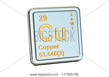 Copper Cu chemical element sign. 3D rendering isolated on white background