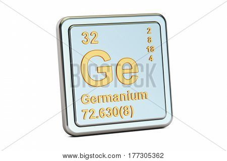 Germanium Ge chemical element sign. 3D rendering isolated on white background