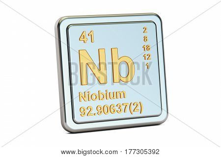 Niobium Nb chemical element sign. 3D rendering isolated on white background