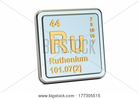 Ruthenium Ru chemical element sign. 3D rendering isolated on white background