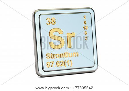 Strontium Sr chemical element sign. 3D rendering isolated on white background
