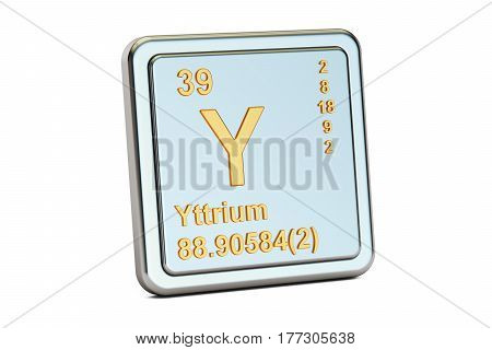 Yttrium Y chemical element sign. 3D rendering isolated on white background