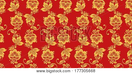 Hohloma seamless pattern, russian culture decor vector. Khokhloma background decoration in red and gold colors