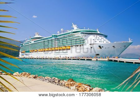 LABADEE, HAITI - FEBRUARY 26, 2013: Royal Caribbean cruise ship Independence of the Seas docked at the private port of Labadee in the Caribbean Island of Haiti