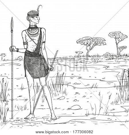 Vector sketch illustration. Armed warrior of the Masai tribe in traditional clothes and jewelry against the background of the savannah landscape. African people living in Kenya and Tanzania