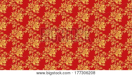 Hohloma seamless pattern texture vector. Russian traditional decoration in red and gold colors. Khokhloma background