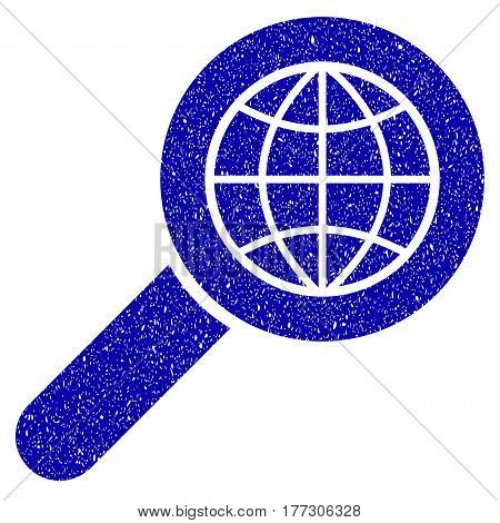 Grunge Search Globe Place rubber seal stamp watermark. Icon symbol with grunge design and unclean texture. Unclean vector blue sign.