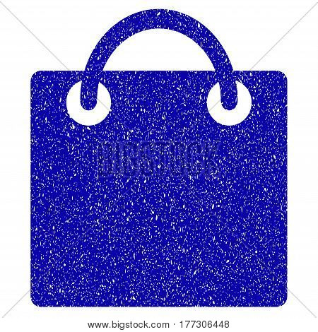 Grunge Shopping Bag rubber seal stamp watermark. Icon symbol with grunge design and scratched texture. Unclean vector blue sign.