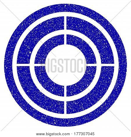 Grunge Target rubber seal stamp watermark. Icon symbol with grunge design and unclean texture. Unclean vector blue emblem.