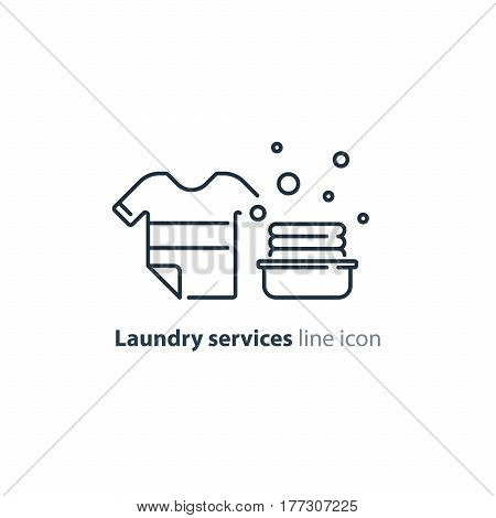 Laundry services, clean clothes, water and dry cleaning, stack of clothing in basket, vector line icons