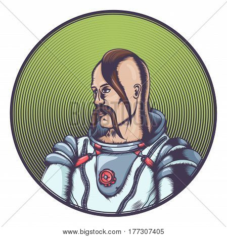 A colored Cossack in the cosmonaut costume. In a round frame. On a white background.