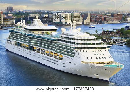 AMSTERDAM - MAY 13, 2016: Royal Caribbean cruise ship Serenade of the Seas heading to cruise terminal.