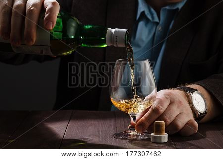 Alcoholism issue drinking after hard work at bar