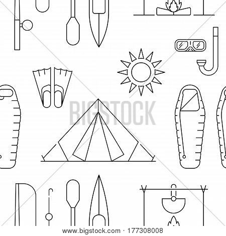 Seamless pattern of camping gear equipment can be used for wallpaper, website background, wrapping paper. Camping outline pattern isolated on white background.