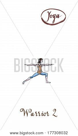 Young woman practicing Ashtanga Vinyasa Yoga asana Virabhadrasana II - warrior pose two watercolor hand drawn - Illustration
