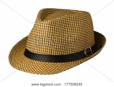 Hat  Isolated On White Background .hat With A Brim .brown Ha