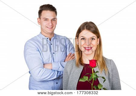 Picture of a beautiful young couple on Valentine's day - isolated background