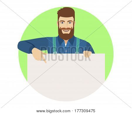 Hipster pointing at banner over white. Portrait of hipster in a flat style. Vector illustration.