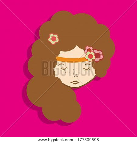 hippie man face maditation and hairstyle, vector illustration