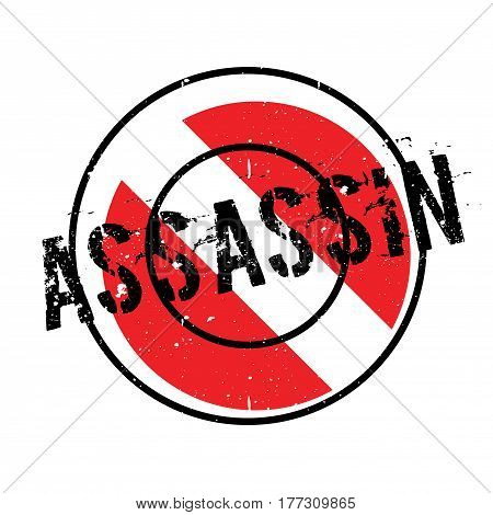 Assassin rubber stamp. Grunge design with dust scratches. Effects can be easily removed for a clean, crisp look. Color is easily changed.