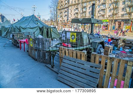 KIEV, UKRAINE - MARCH 22, 2014: People still living at Maidan square to maintain Revolution  and waiting for the Presidential elections.