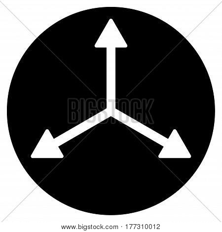 3D Isometry Directions vector icon. Flat black symbol. Pictogram is isolated on a white background. Designed for web and software interfaces.