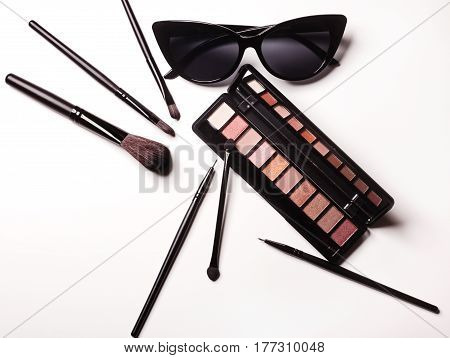 Essentials Fashion Woman Objects On White Background