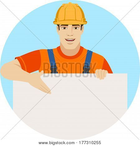 Builder showing at banner over white. Portrait of builder in a flat style. Vector illustration.