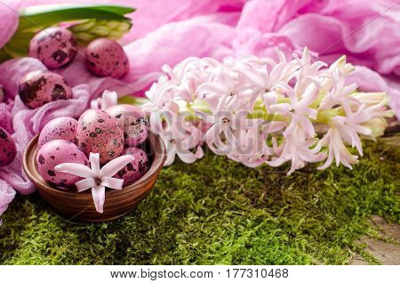 Beautiful Easter Background In Pink And Green Tones