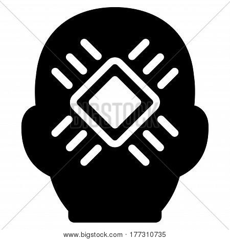 Cyborg Head vector icon. Flat black symbol. Pictogram is isolated on a white background. Designed for web and software interfaces.