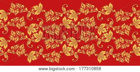 Hohloma seamless pattern fabric texture vector. Russian traditional decoration in red and gold colors. Classic khokhloma background