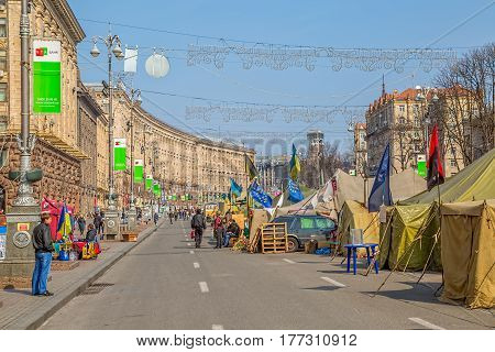 KIEV, UKRAINE - MARCH 22, 2014: People still living at Maidan square and Khreshchatyk street to maintain Revolution and waiting for the Presidential elections.