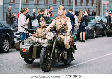 Gomel, Belarus - May 9, 2015: Parade Of Russian Soviet Military Warfare Of WW2 Time With Re-Enactors Dressed As Red Army Soldiers