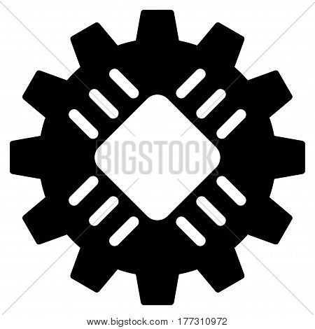 Hardware Gear vector icon. Flat black symbol. Pictogram is isolated on a white background. Designed for web and software interfaces.