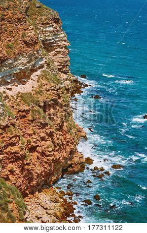 Rocky Shore Of The Black Sea.Cape Kaliakra Bulgaria