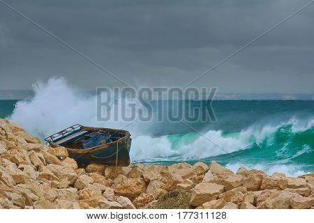 Boat on the Stony Shore of Black Sea in Varna Bulgaria