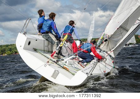 Moscow , May 24 : Public open.Team athletes participating in the sailing competition - match race , held in Moscow on Pirogov Reservoir May 24, 2016