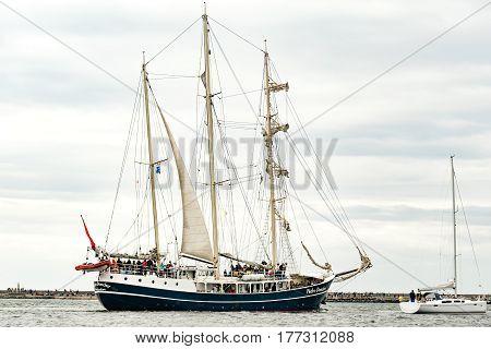 Rostock, Germany - August 2016: Sailing ship Pedro Doncker on the baltic sea. Hanse-Sail Warnemuende at port Rostock, Mecklenburg-Vorpommern, Germany. Tall Ship.Yachting and Sailing travel. Cruises and holidays