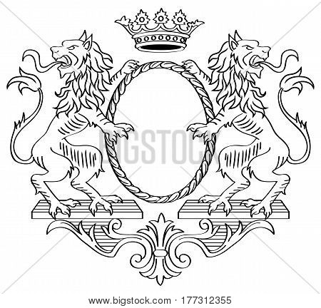 Floral Frame. Two Lions and Crown. Vector Illustration.