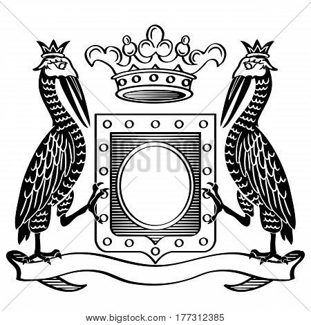 Two birds and crown. Heraldic frame. Vector Illustration.