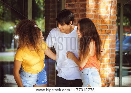 group of teenagers on the street
