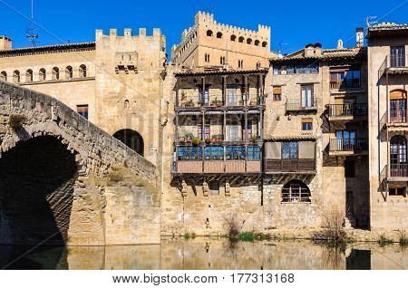 Riverside view in Valderrobres in Aragon Spain