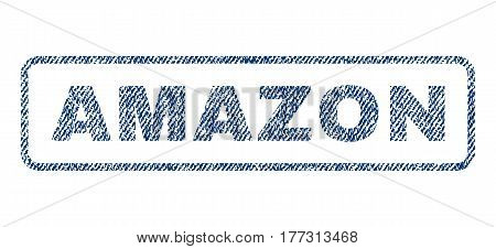 Amazon text textile seal stamp watermark. Blue jeans fabric vectorized texture. Vector tag inside rounded rectangular shape. Rubber sign with fiber textile structure.