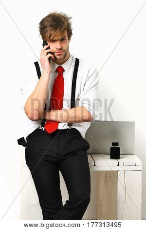 Caucasian Stylish Bearded Manager Speaking Be Cell Phone