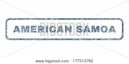American Samoa text textile seal stamp watermark. Blue jeans fabric vectorized texture. Vector caption inside rounded rectangular banner. Rubber emblem with fiber textile structure.