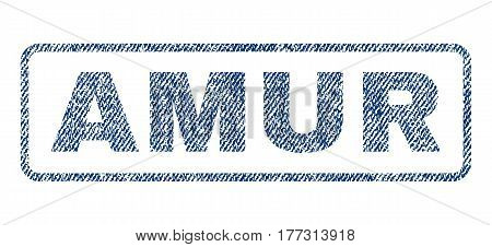 Amur text textile seal stamp watermark. Blue jeans fabric vectorized texture. Vector tag inside rounded rectangular banner. Rubber sign with fiber textile structure.