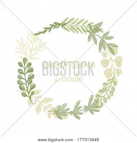 Greenery floral circle wreath vector, greeting, invitation or wedding card template. Hand drawn green leaf frame