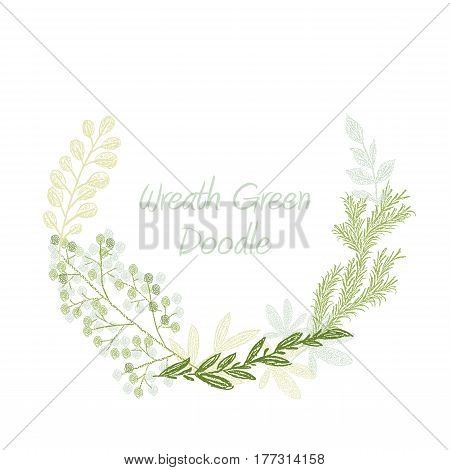 Green doodle hand drawn leaves and grass wreath vector, greeting, invitation or wedding card template. Greenery spring floral border